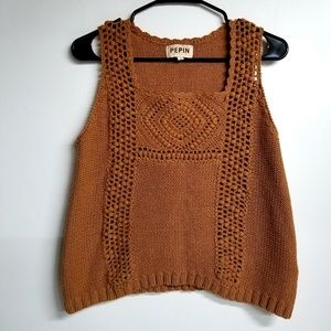 Anthropologie Pepin crochet knit tank top